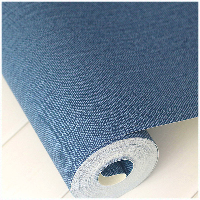 Modern Solid Color Dark Blue Wallpaper Roll Plain Denim Wall Paper For Walls Waterproof PVC Wallpapers