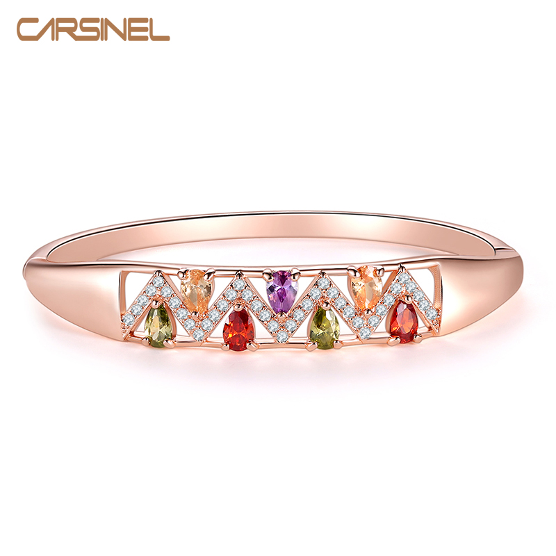 CARSINEL Fashion Rose gold color Bracelets&Bangles for Women Colorful Zircon Charms Bracelet Jewelry Gift BR0280