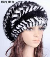 נקבה חורף קוריאני כובע מינק יד לסרוג מינק פרווה, אישה חמה כובעי משלוח חינם מינק כדור
