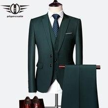 Plyesxale 3 предмета свадебные костюмы для мужчин Slim Fit Мужские костюмы Формальные Бордовый зеленый фиолетовый желтый красный белый мужской костюм 5XL 6XL Q63