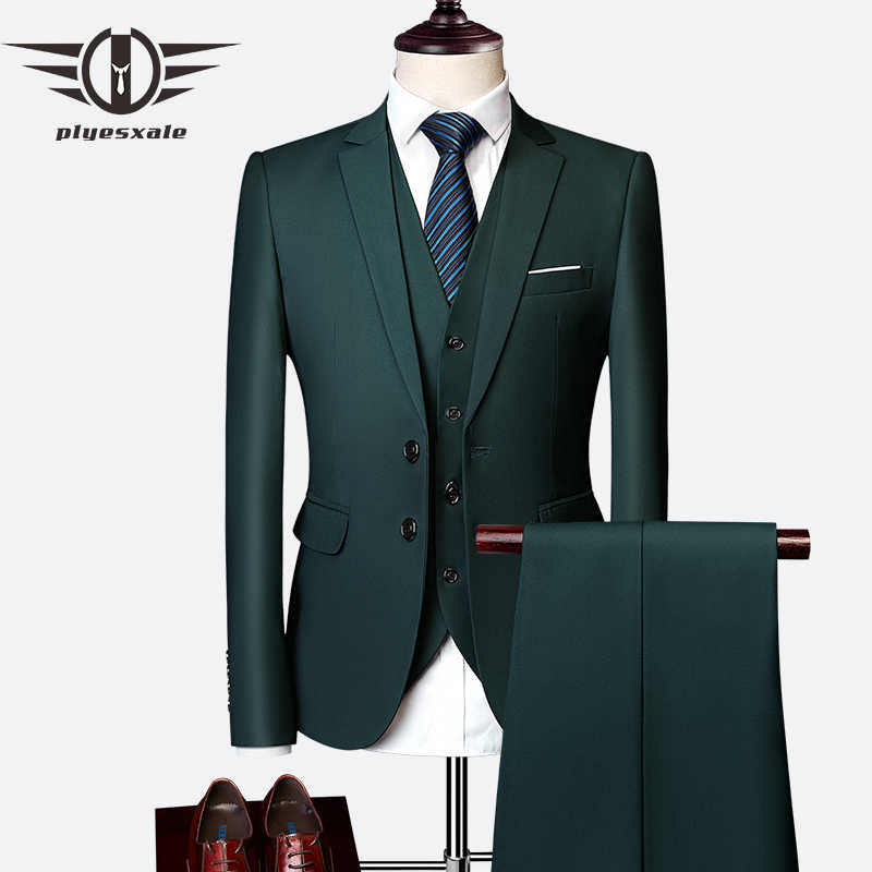0b314c572a2b01 Plyesxale 3 Piece Wedding Suits For Men Slim Fit Men's Suits Formal  Burgundy Green Purple Yellow