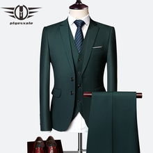 Plyesxale 3 Piece Wedding Suits For Men Slim Fit Mens Formal Burgundy Green Purple Yellow Red White Man Suit 5XL 6XL Q63