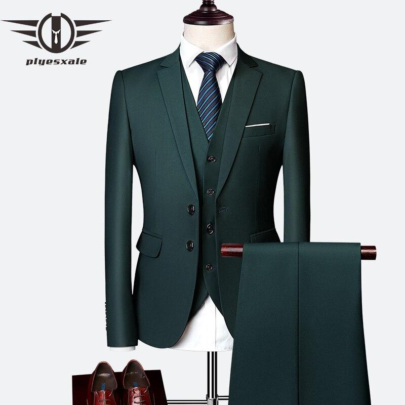 Plyesxale 3 unidades trajes de boda para hombres Slim de los hombres trajes formales Borgoña púrpura verde amarillo rojo blanco traje de hombre 5XL 6XL Q63