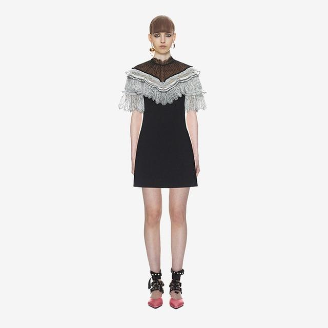 Dress spring summer new lace stitching retro dress holiday A line dress black fringe short sleeve bodycon vestidos summer dresse