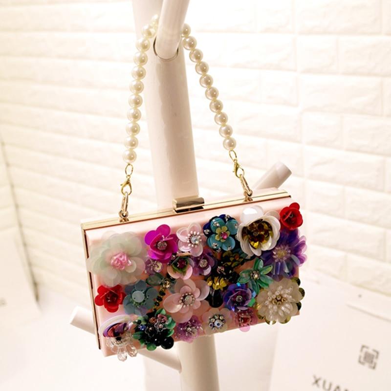 2017 Fashion Pearl Chain Women Handbags Crossbody Bags Colorful Flowers Party La