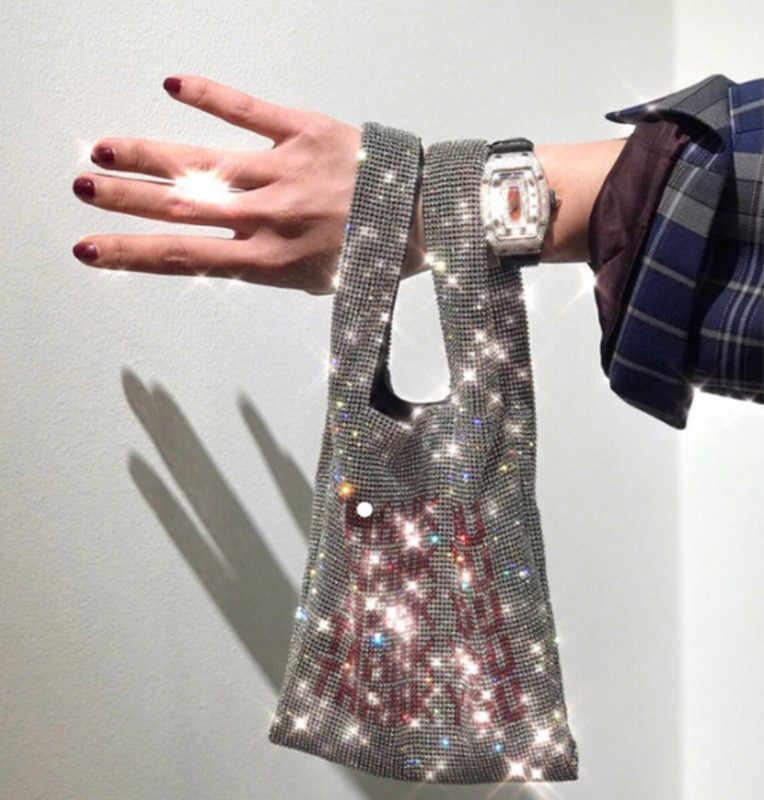 2019 Strass Designer De Bolsas De Mão Bolsas de Marca Famosa Mulheres Sequines Bling Bling Diamantes Senhoras Saco de Embreagem Saco Do Partido de Luxo