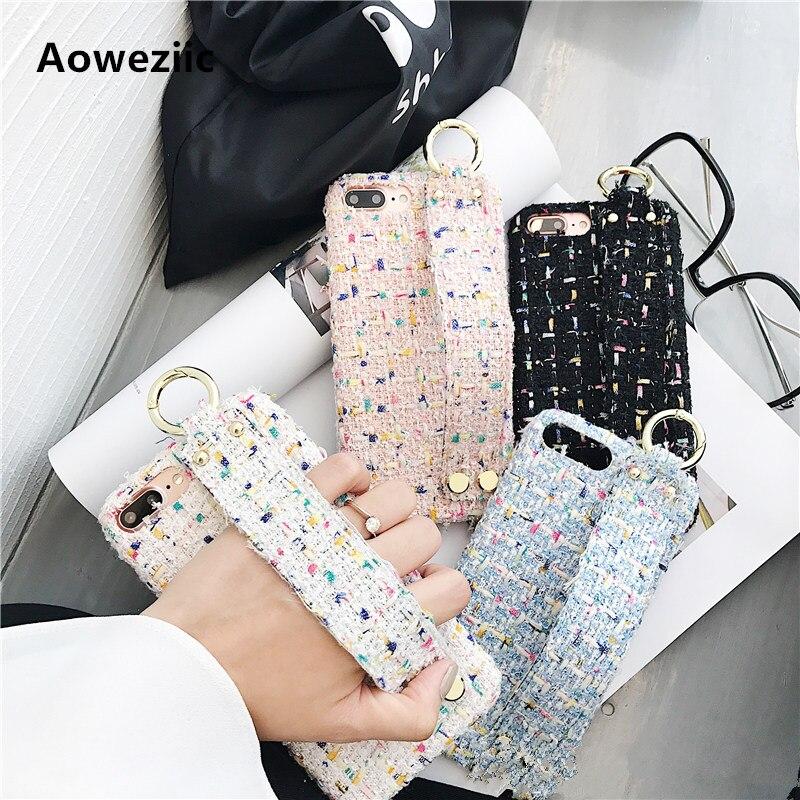 Aoweziic Creatività ins vento lana colorata per iphone x 8 plus cassa del telefono wristband del braccialetto afflusso di personalità femminile 7 P 6 S +
