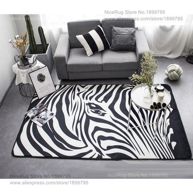Geometric Black White Zebra Striped Carpet Living Room Bedroom Area
