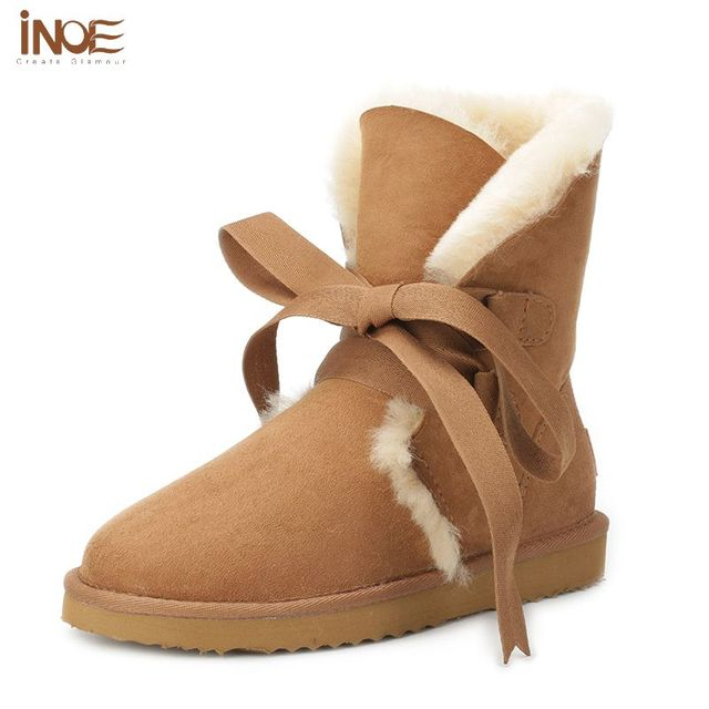 8c753b5ef US $149.99 |INOE Women's Fleece lined Suede Platform Lace up Winter Boots  Real Sheepskin Fur Boots Chestnut Winter Wool Snow Boots Shoes 10-in ...