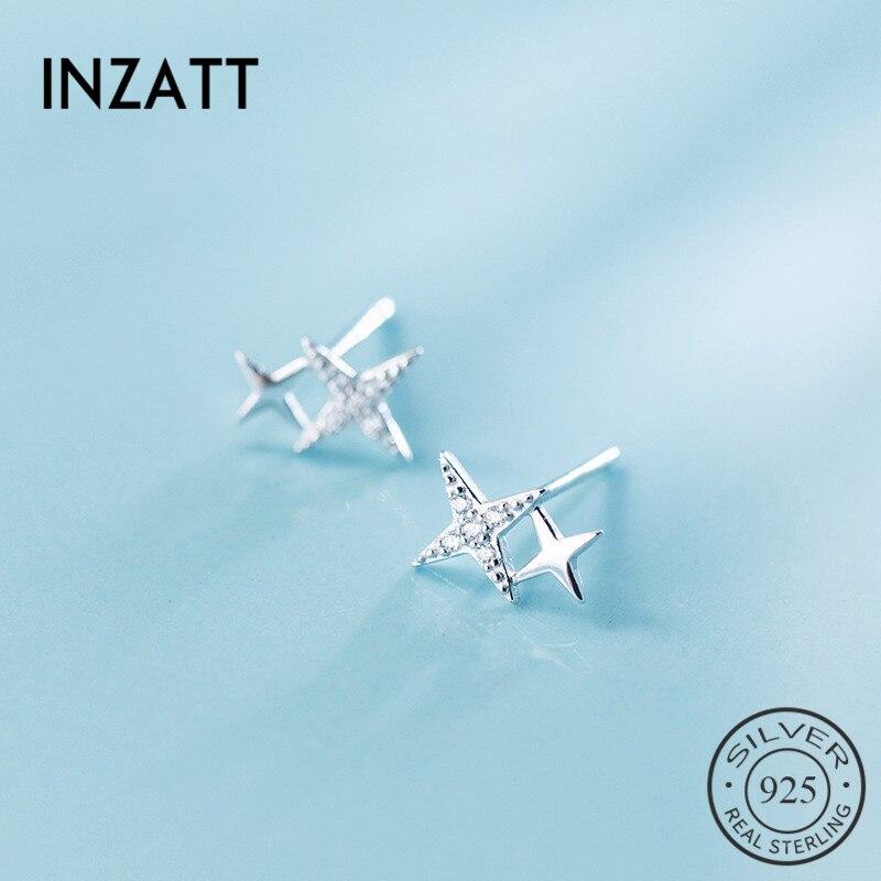 INZATT Real 925 Sterling Silver Stars Shine Zircon Stud Earrings For Women Wedding Party Fine Jewelry Bohemia Accessories Gift