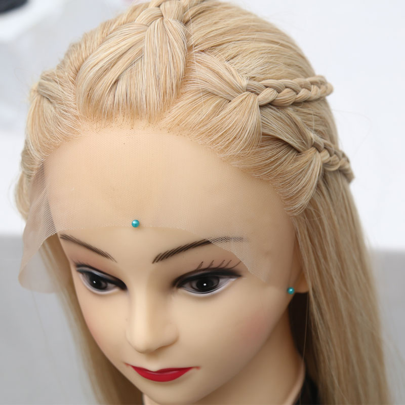 Bombshell Mix Blonde Straight Synthetic Lace Front Braid Wig Braided Heat Resistant Fiber Hair Natural Hairline For Women Girls