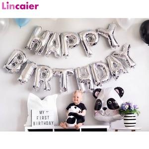 Image 1 - 16 インチハッピーバースデーホイルバルーン風船ベビー最初 1st 誕生日パーティーの装飾少年少女子供大人の誕生日ホオジロ装飾 1 年