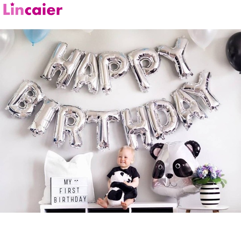 16inch Happy Birthday Foil Balloons Baby First 1st Birthday Party Decoration Boy Girl Kids Adult Birthday Bunting Decor One Year