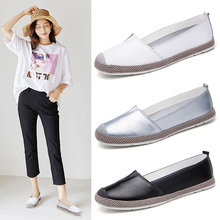 ROMMEDAL plus size 36-42 women flats split leather solid black white silvery walk drive casual shoes female summer comfy