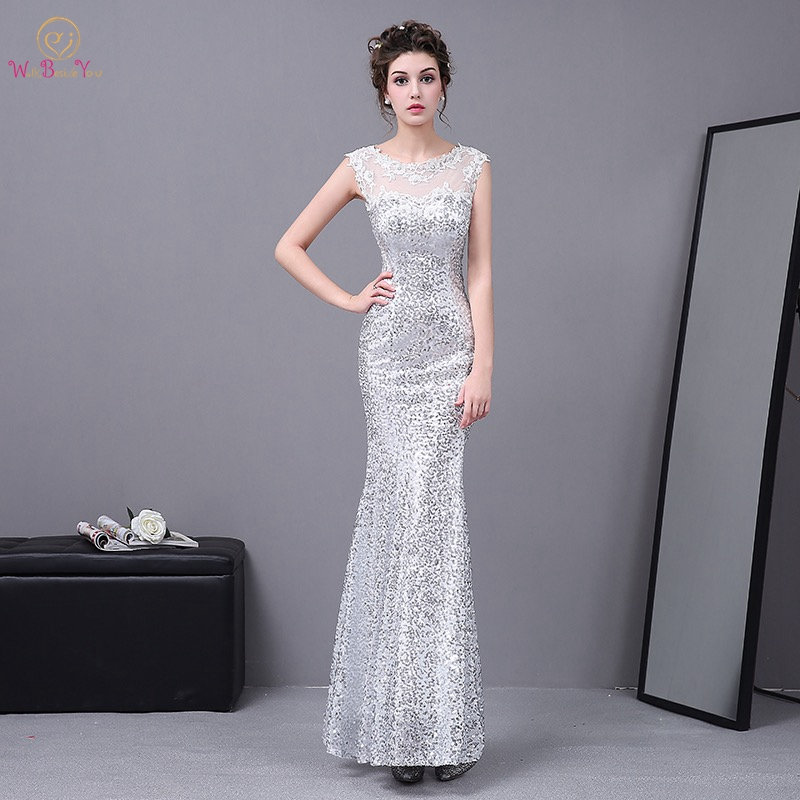 Walk Beside You Silver Evening Dresses Long Mermaid Sheer Neck Lace  Appliques Sequined Bling Formal Party Prom Gowns Zipper back 68dbb94e1484