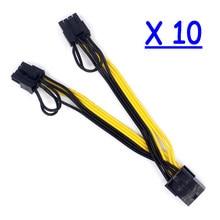 10x Porta Dupla 8pin PCI-E PCIE 8p Fêmea para 2 6 + 2p Masculino GPU Gráficos da Placa De Vídeo cabo de alimentação Cabo de Fio 18AWG