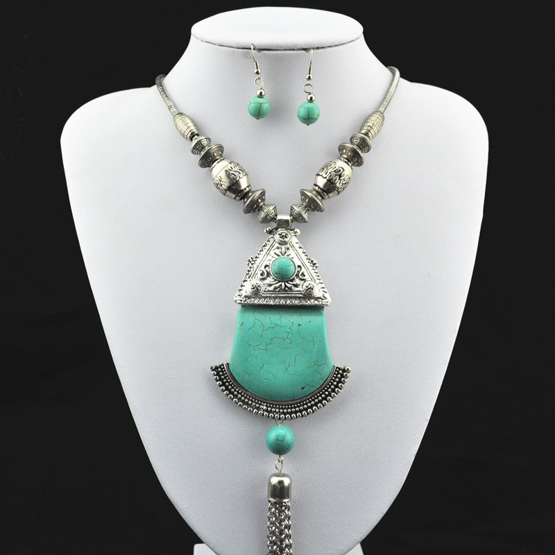 S183 Crystal Stone Necklace Pendant & Earring Antique Silver,Jewlery Set ,Women Gift,Vintage Look,Tibet Alloy