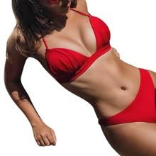 Женское бикини, сексуальное, Пляжное, для девушек, пуш-ап, купальник, бикини-бандаж, Одноцветный, костюм, вечерние, Feminino,, защита от солнца, плюс размер, 19Feb14