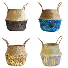 Hanging Garland Seagrass Wicker Basket Flower Pot Folding Basket Dirty Basket Storage Decoration Wall Flower Basket Hot New F14(China)