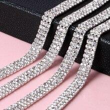 1 Yard Silver 2MM/3MM 3 Row Rhinestone Trim Crystal Cup Chain for Dress Clothing Jewelry Bags