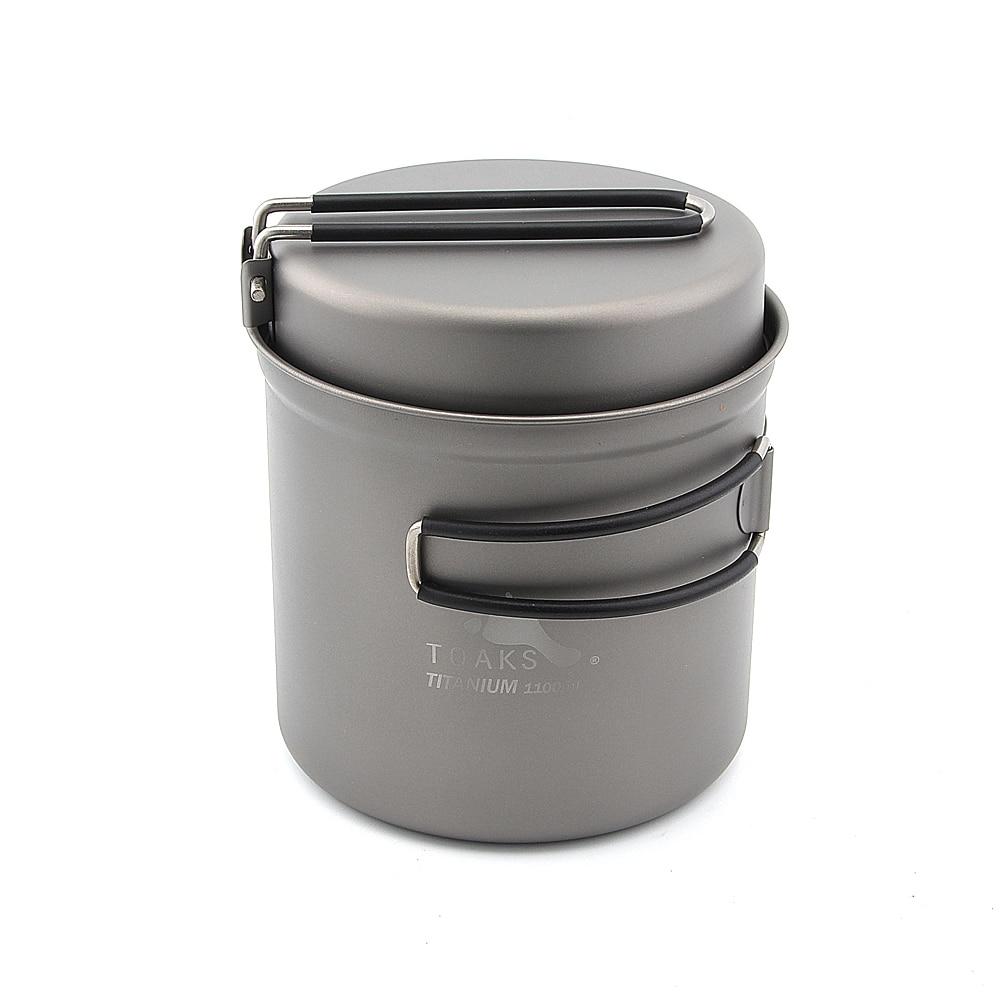 TOAKS CKW-1100 1100ml Cookware Set Ultralight Titanium camping Pot w Frying Pan nz titanium pot set