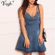 Sexy Blue Spaghetti Strap Denim Dress Women befree summer elegant Backless Cowboy vintage party Bodycon jeans dress Vestidos New цена 2017