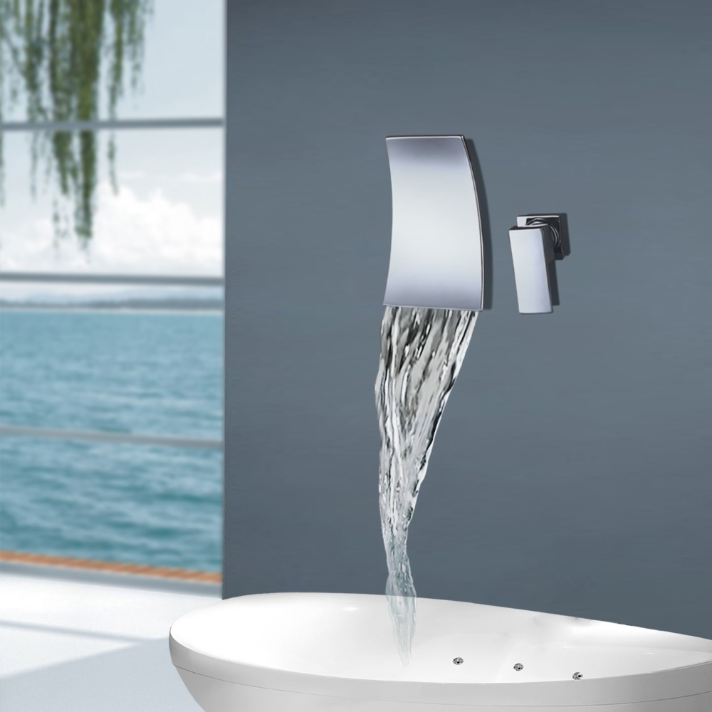 Wall Mounted Waterfall Bathroom Faucet Chrome Brass Bathtub Faucet ...