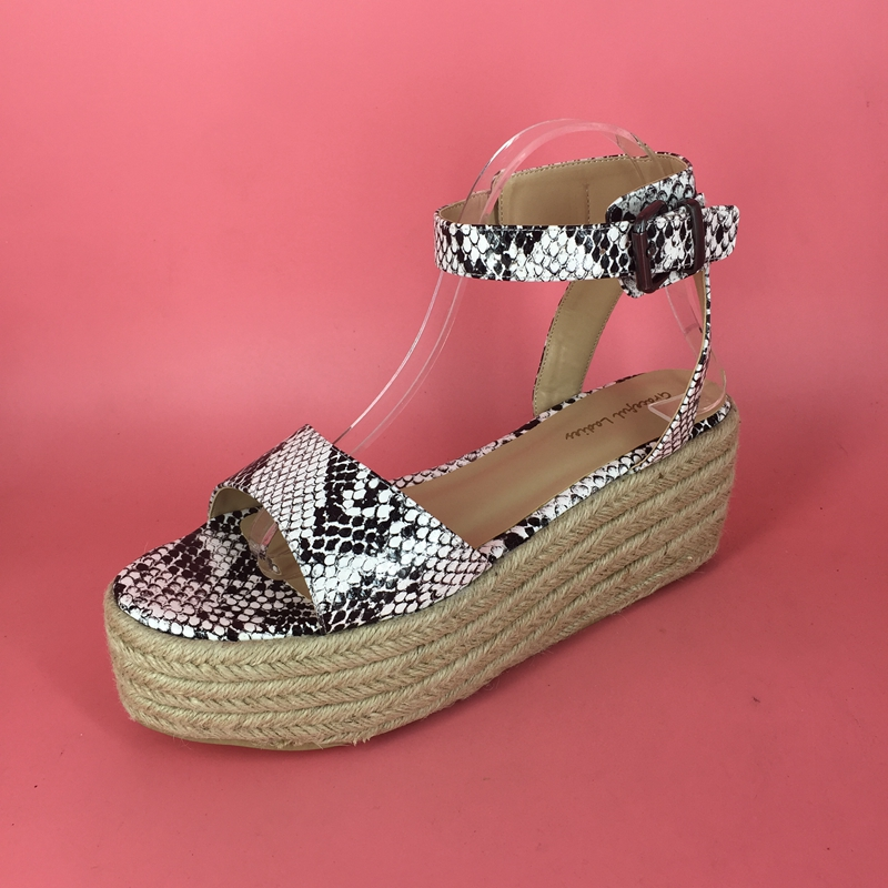 Causal Style Retro Wedge Women Sandal Snakeskin Pu Slingbacks Open Toe And Open Back New Chic Women Shoes Customized Colors