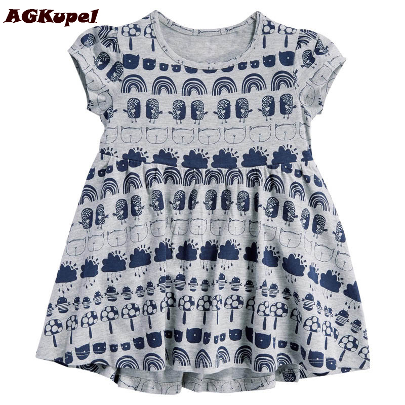AGKupel Print Girls Dresses Summer 2016 European and American Style Girls Clothes Brand Baby Kids Dresses Cotton Dress For Girls 100% real photo brand kids red heart sleeve dress american and european style hollow girls clothes baby girl clothes