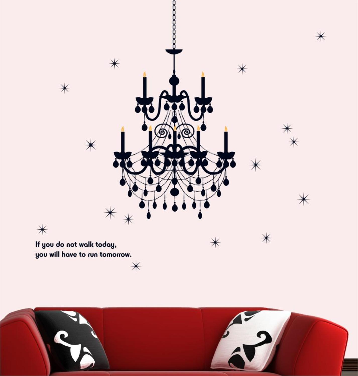 Lamp light wall art decor removable mural vinyl decal sticker purple - Pvc Wall Stickers Chandelier Simple Candlelight Dinner Continental Cozy Living Room Tv Wall Stickers Wall Stickers
