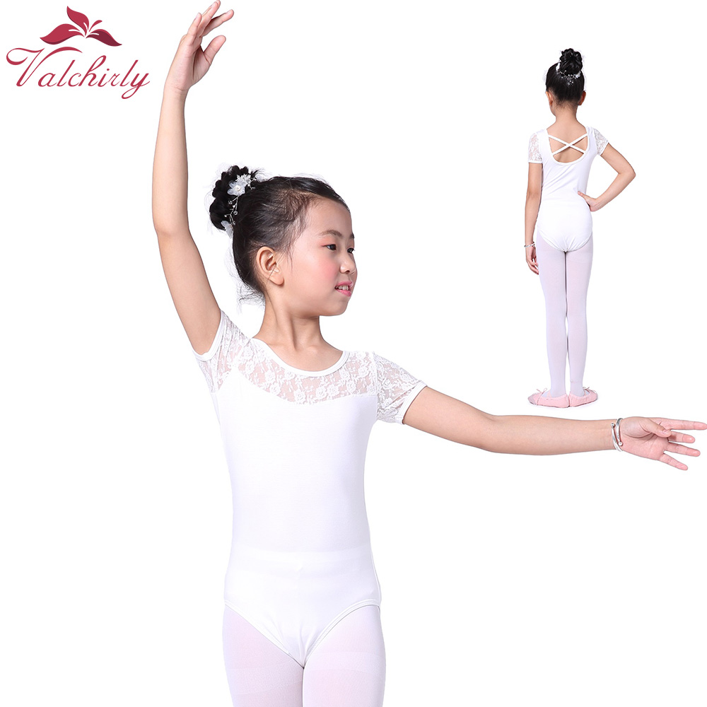 Girls Ballet Laces Gymnastic Dress Dance Costume Short Sleeves Gymnastics Leotard