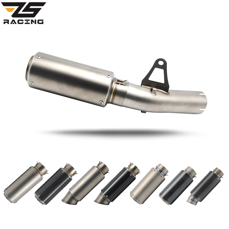ZS Racing Motorcycle Exhaust 61mm Middle Pipe For BMW S1000RR 2010 2014 With Exhaust Stainless Titanium