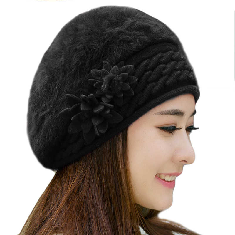 e647c274d4e70 Women Beret beanie caps Knitted Hat Ladies winter hats for women Faux Rabbit  Fur bonnet femme