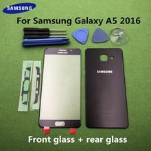 Originele Front Screen Glas Lens Voor Samsung Galaxy A5 2016 A510 SM A510F Rear Batterij Cover Deur Terug Behuizing + Sticker gereedschap