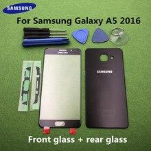 מקורי מסך קדמי זכוכית עדשה עבור Samsung Galaxy A5 2016 A510 SM A510F אחורי סוללה כיסוי דלת אחורי שיכון + מדבקה כלים