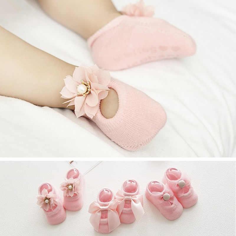 3 пары/партия, кружевные носки для новорожденных с цветочным принтом хлопковые нескользящие детские носки-тапочки носки для маленьких девочек с бантом Подарок на весну-лето для девочек