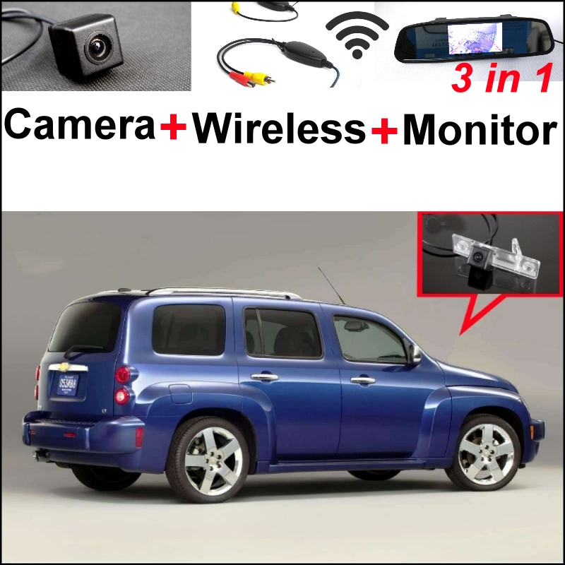 3in1 Special WiFi  Camera + Wireless Receiver + Mirror Monitor Parking System For Chevy Chevrolet Estate Exclusive HHR JOY wireless pager system 433 92mhz wireless restaurant table buzzer with monitor and watch receiver 3 display 42 call button