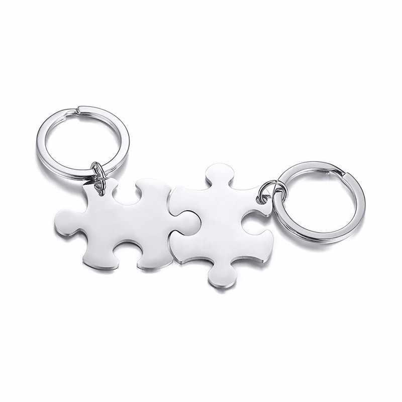 Puzzle brelok pary ze stali nierdzewnej spersonalizowane niestandardowe kobiety mężczyźni pary kochanków do kluczy z okazji pierścień akcesoria
