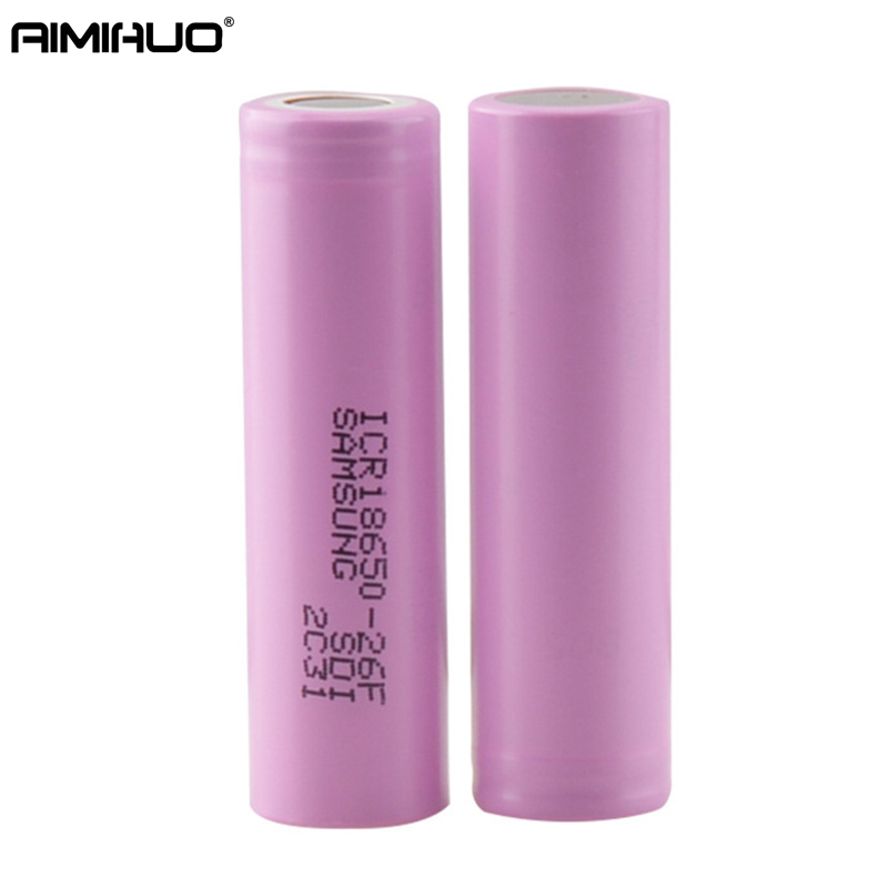 AIMIHUO 2PCS 18650 Rechargeable Battery original 3.7v 18650 icr18650-26f 2600 mah li-ion battery for flashlight laptop computer