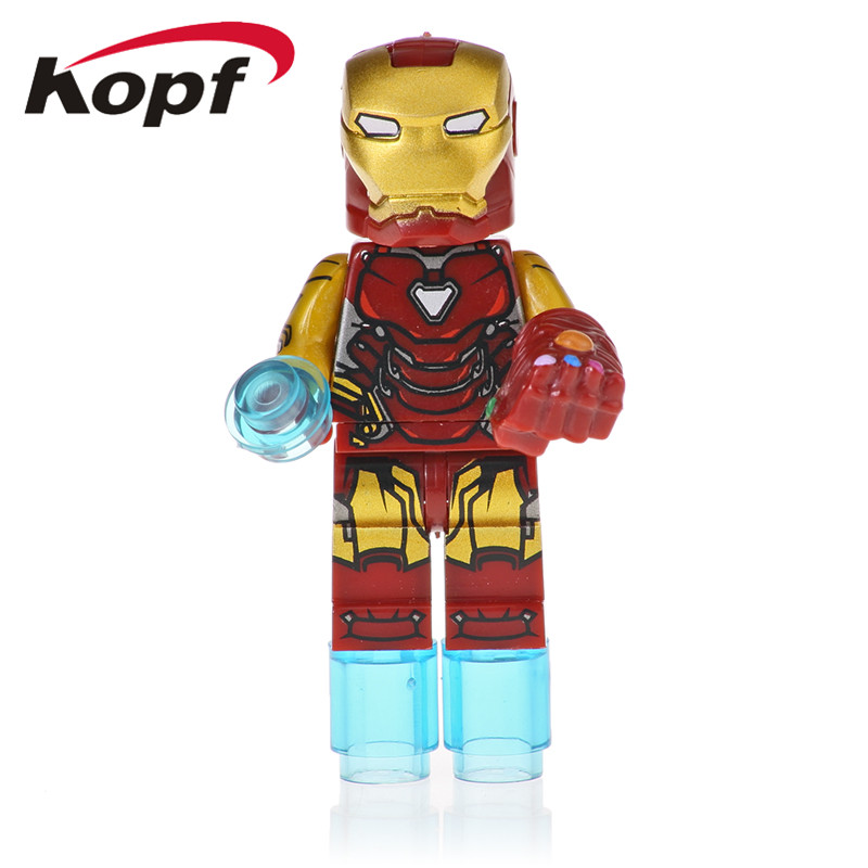 50Pcs Sale Super Heroes Avengers4 INFINITY WAR Thanos Mk85 Spider Man Action Ant Man Education Building