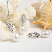 Crown Natural Pearl Pendant Earrings 925 Sterling Silver Jewelry Set (4 colors)