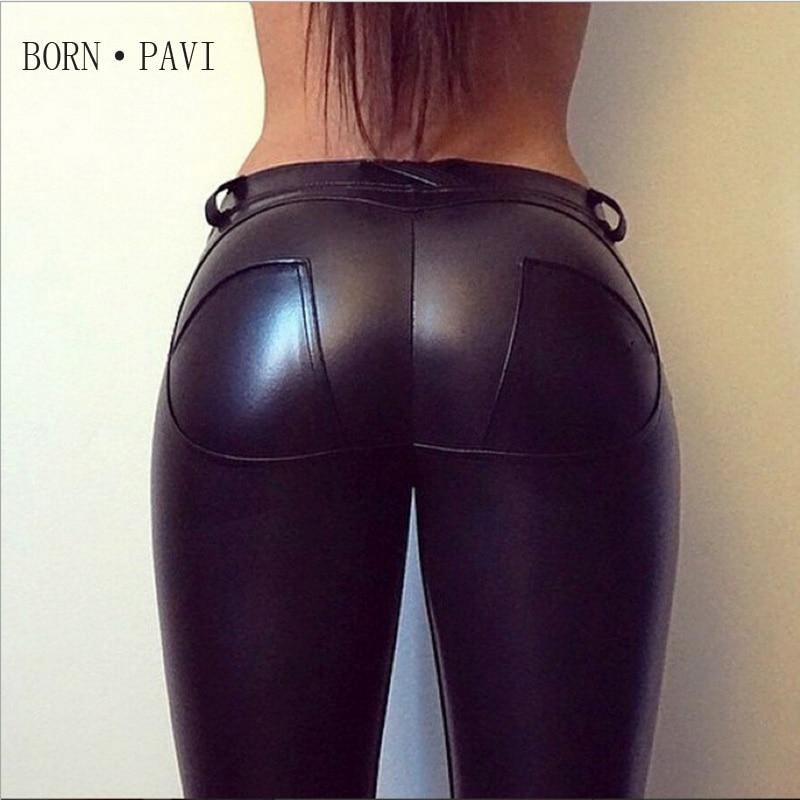 BORNPAVI Leggings For Women Sexy Hip Push Up Pants Low Waist Leggings PU Leather Jegging Gothic Leggins Jeggings Legins 4 Colors