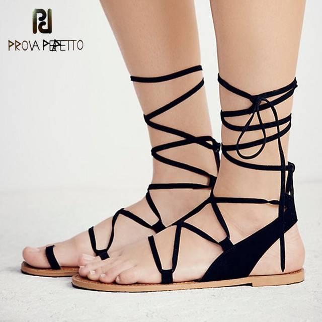 Prova Perfetto High Quality 2018 Simple Flat Sandals Real Leather Non-slip  Korean Style Student Flat with Sandals Black Woman