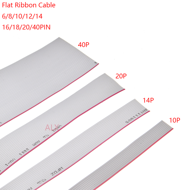 2.54mm Pitch 6P 10P 14P 16P 20P 40P IDC Flat Ribbon Cable 300mm ZY