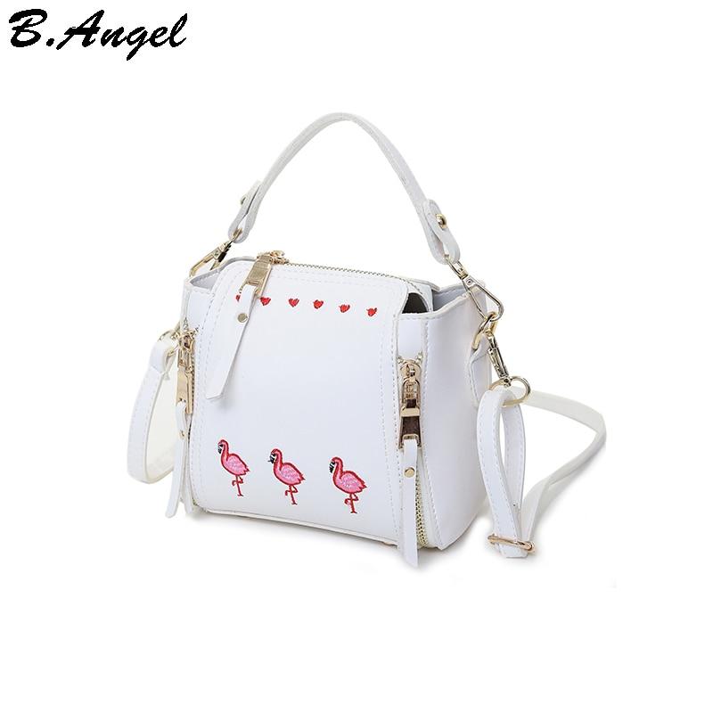 Вышивка фламинго и сердца женщин мешок цепи украшения кожаные сумки маленькие женщины вестник мешки женские сумки через плечо