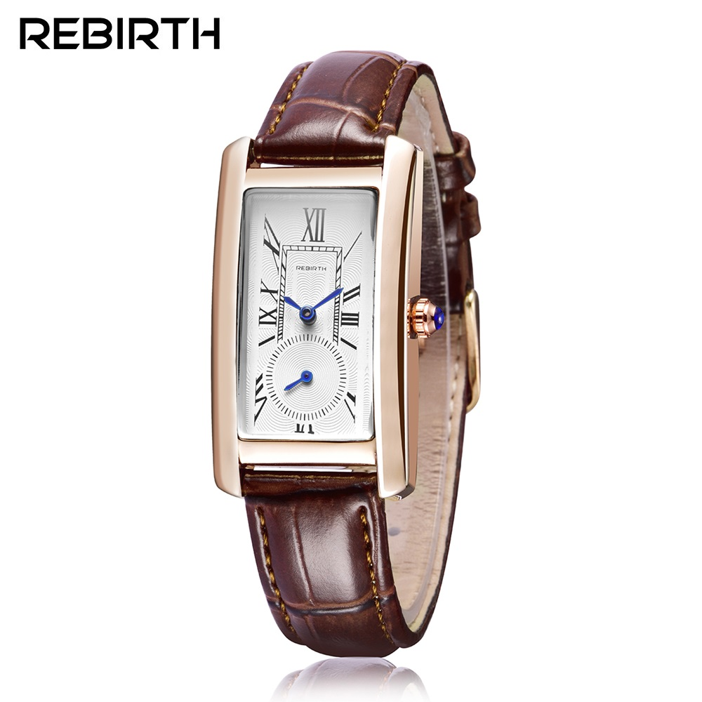 REBIRTH Leather Quartz Watch Women Watches Lady Luxury Antique Stylish Square Dress Watch Relogio Feminino Montre Femme