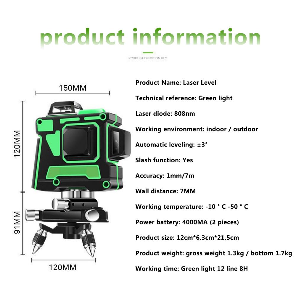 3D 12 Linien Green Laser Level mit Wand Halterung 360 Grad Einstellen Basis Laser Strahl Linie Horizontale Vertikale Kreuz Laser linien - 4