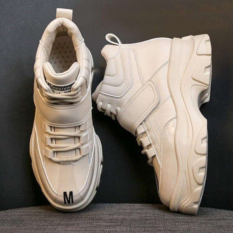 Primavera Beige Mujeres Zapatos Ayuda Zapatillas Moda Deporte Plataforma Pisos Casuales E532 Otoño negro De La Mujer 2019 Encaje Nuevas Y Alta Las 8REwxqRZp