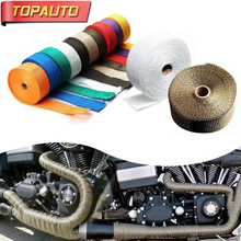 TopAuto 25mm 5m Motorcycle Car Titanium Thermal Exhaust Heater Pipe Tape Heat Insulating Resistant Wrap Cloth