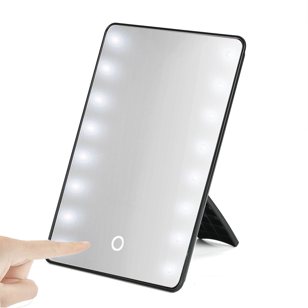 Makeup Mirror with 16 LEDs Cosmetic Mirror with Touch Dimmer Switch Battery Operated Stand for Tabletop Bathroom Bedroom Travel in Makeup Mirrors from Beauty Health